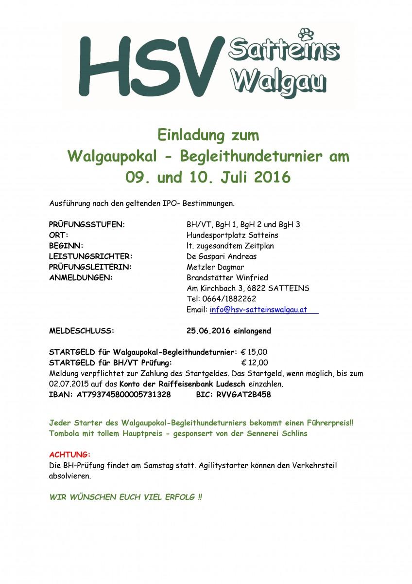 Walgaupokal Begleithundeturnier 2016