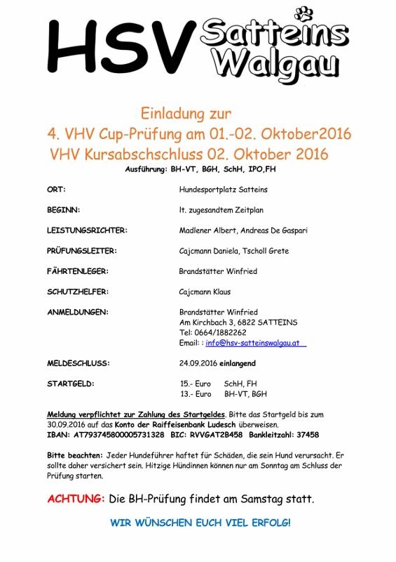 4. Cup Prüfung in Satteins am 01. u. 02.10.2016