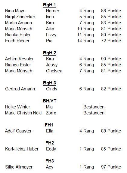 4. VHV Cup-Prüfung in Satteins am 01.10.2016